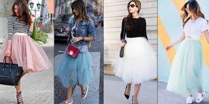 Atuendos fashion con faldas de tul para lucir frescas y rejuvenecidas en el otoño