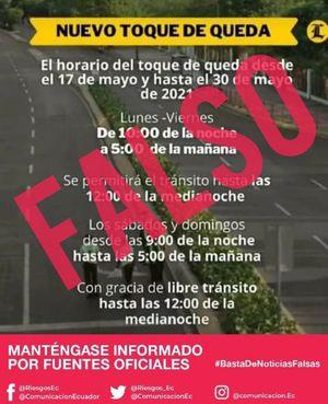 Noticia de extensión de toque de queda en Ecuador es falsa