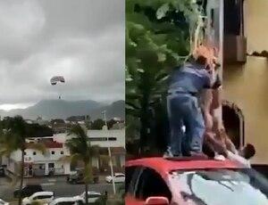 Turista sobrevuela Puerto Vallarta sin control tras romperse cuerda de parachute