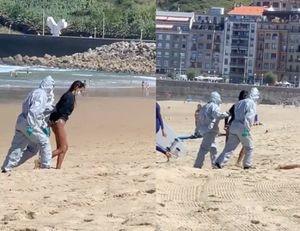 VIDEO: Detienen a mujer en playa por tener Covid-19 y no mantenerse en aislamiento