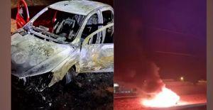 Policiais salvam vítima de sequestro relâmpago em porta-malas de carro em chamas, em MS