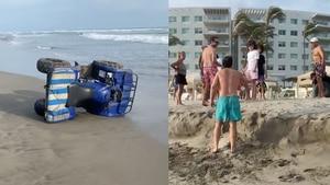 Jóvenes vuelcan cuatrimoto en playas de Acapulco; casi arrollan a una bebé