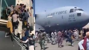 Afganos desesperados desbordan aviones intentando huir del Talibán