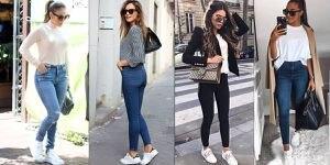 Looks con skinny jeans y tenis para mujeres de 40 y 50 que desean lucir estilizadas y cómodas