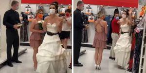 Con sacerdote y vestida de novia mujer sorprendió a su novio en su trabajo