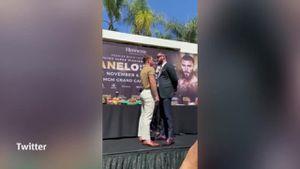 Canelo Álvarez y Caleb Plant se van a los golpes durante el careo previo a la pelea